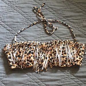 Cheetah print strapless bathing suit top w/ fringe